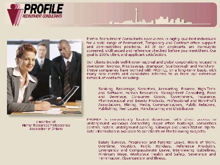 Profile Recruitment Consultants (416-363-1488) - Onglet de site Web - http://www.profileconsultants.com