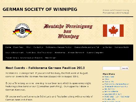 German Society of Winnipeg (204-589-7724) - Onglet de site Web - http://www.gswmb.ca