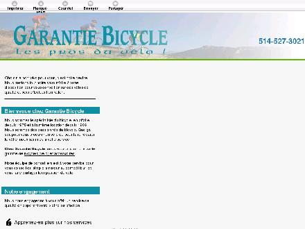Garantie Bicycle (514-527-3021) - Onglet de site Web - http://www.garantiebicycle.com