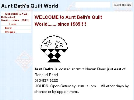 Aunt Beth's Quilt World (613-837-6222) - Website thumbnail - https://sites.google.com/site/auntbethsquiltworld/