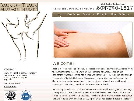 Back On Track Massage Therapy (604-940-1817) - Onglet de site Web - http://www.backontrackmt.com