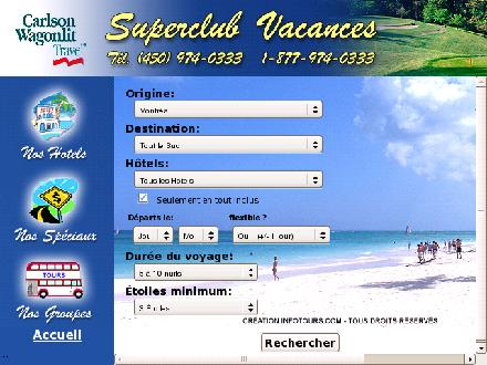 Super Club Vacances (450-974-0333) - Website thumbnail - http://www.superclubvacances.com