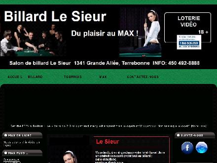 Billard Salon Le Sieur (450-492-8888) - Onglet de site Web - http://www.billardlesieur.com