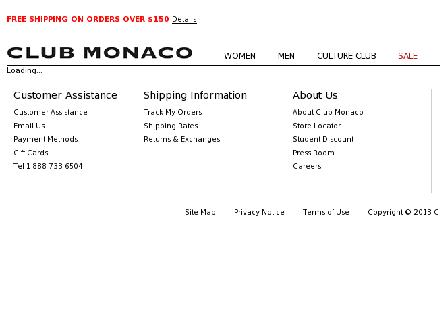 Club Monaco - Vancouver (604-687-5550) - Onglet de site Web - http://www.clubmonaco.com