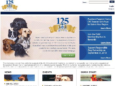 Canadian Kennel Club (416-675-5511) - Onglet de site Web - http://www.ckc.ca