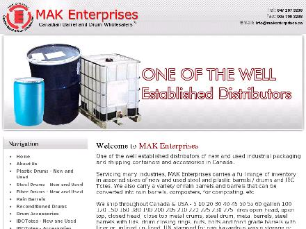 Canadian Barrel & Drum Wholesellers Inc (905-790-3266) - Onglet de site Web - http://www.makenterprises.ca