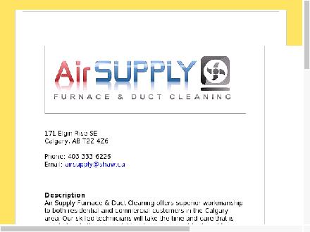 Air Supply Furnace and Duct Cleaning (403-333-6226) - Onglet de site Web - http://www.air-supply.ca