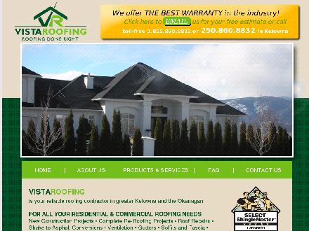 Vista Roofing (250-860-8832) - Website thumbnail - http://www.vistaroofing.ca