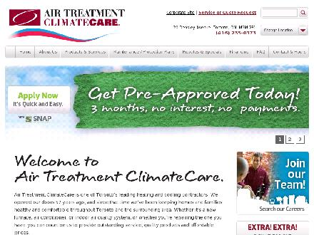Air Treatment Climatecare (416-235-0373) - Onglet de site Web - http://www.airtreatment.net