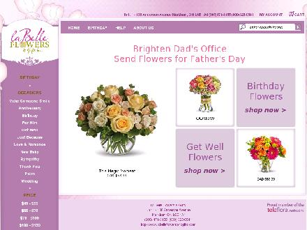 La Belle Flowers & Gifts Inc (905-471-8155) - Website thumbnail - http://www.labelleflowersandgifts.com