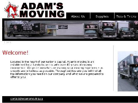 Adam's Moving (613-722-6044) - Onglet de site Web - http://www.adamsmoving.ca