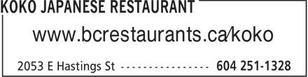 Koko Japanese Restaurant Ltd (6042511328) - Display Ad - www.bcrestaurants.ca/koko