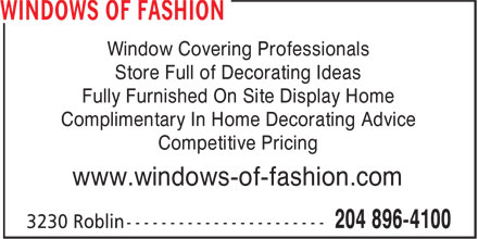 Windows of Fashion (204-896-4100) - Annonce illustrée======= -