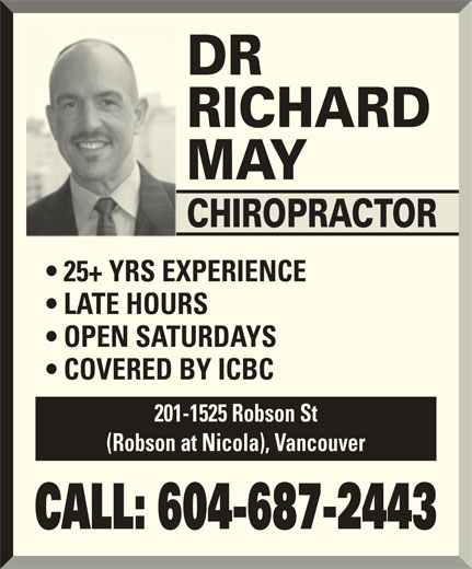 May Richard Dr Opening Hours 201 1525 Robson St
