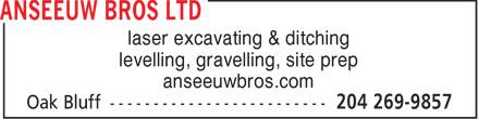 Anseeuw Bros Ltd (204-269-9857) - Annonce illustrée======= -