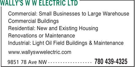 Ads Wally's W W Electric Ltd