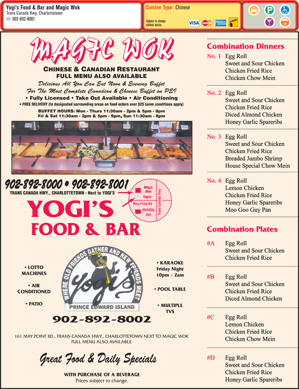Yogi 39 s food bar menu horaire et prix 161 maypoint for Bar food la menu