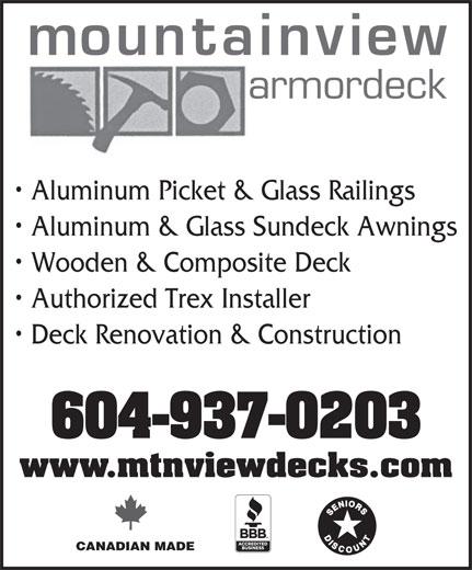 Mountaindeck Construction Inc (604-937-0203) - Display Ad -