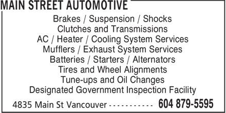 Main Street Automotive (604-879-5595) - Display Ad -