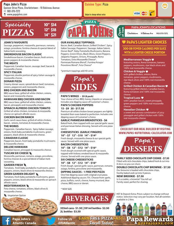 Papa johns pizza menu desserts
