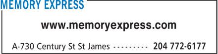 Memory Express Inc (204-772-6177) - Display Ad - www.memoryexpress.com