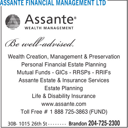 Assante financial management ltd brandon mb 30a 1015 for 100 mural street richmond hill