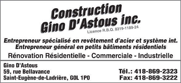 Construction gino d 39 astous ladri re qc 59 rue for Salon de coiffure lachine