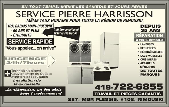 Harrisson pierre horaire d 39 ouverture 108 287 rue for Taux horaire main d oeuvre garage