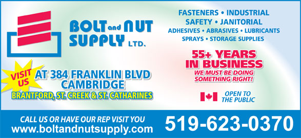 Bolt Amp Nut Supply Ltd Cambridge On 384 Franklin Blvd