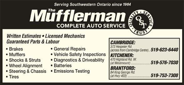 The Mufflerman (519-623-6440) - Display Ad -