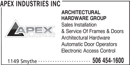 Apex industries inc 1149 smythe st fredericton nb for Smythe inc