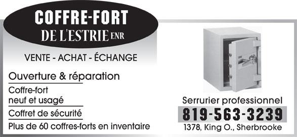 coffre fort de l estrie enr sherbrooke qc 1378 rue king o canpages fr