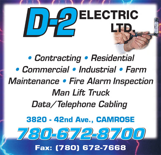 D 2 Electrical Ltd Opening Hours 3820 42 Ave Camrose Ab