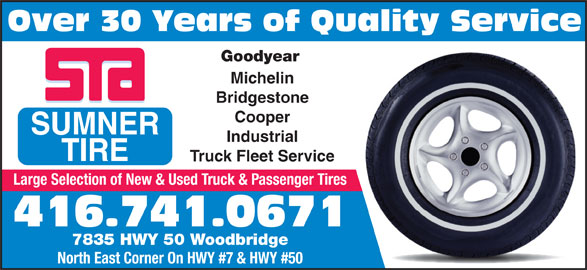 sumner tire  hour road service vaughan   hwy  canpages