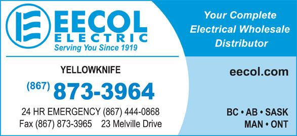EECOL Electric (867-873-3964) - Annonce illustrée======= -