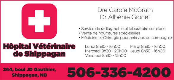 Hôpital Vétérinaire de Shippagan (506-336-4200) - Annonce illustrée======= -