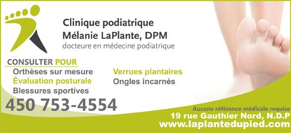 Clinique Podiatrique Mélanie Laplante Inc (450-753-4554) - Annonce illustrée======= -