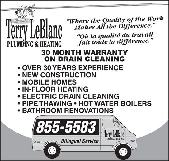 Terry LeBlanc Plumbing & Heating (506-855-5583) - Display Ad -