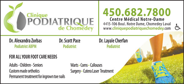 Clinique Podiatrique Chomedey (450-682-7800) - Display Ad -