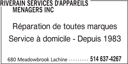 Riverain services d 39 appareils m nagers inc lachine qc for Salon de coiffure lachine