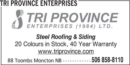 Tri Province Enterprises (506-858-8110) - Annonce illustrée======= -