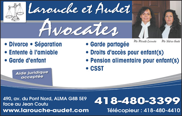 larouche audet avocates alma qc 490 av du pont n canpages fr. Black Bedroom Furniture Sets. Home Design Ideas