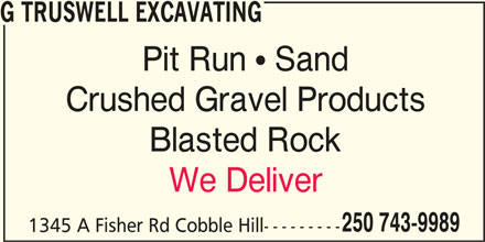 G T Excavating Cobble Hill Bc 1345 Fisher Rd Rr 2