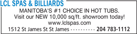 Ads LCL Spas & Billiards