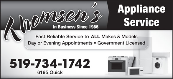 Thomsen S Appliance Service Windsor On 6195 Quick Ave