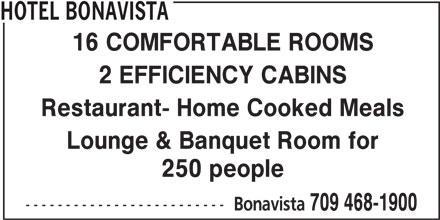 Hotel Bonavista (709-468-1900) - Display Ad -