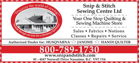 ad Snip & Stitch Sewing Centre Ltd