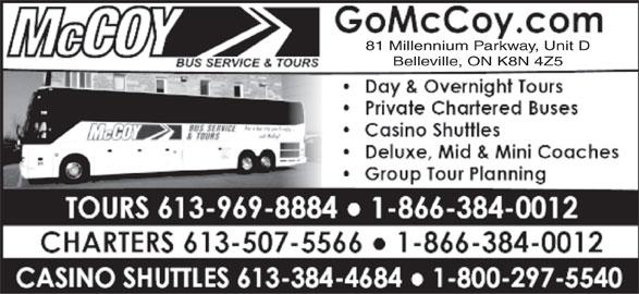 Maple Leaf Tours (613-969-8884) - Display Ad - 81 Millennium Parkway, Unit D Belleville, ON K8N 4Z5