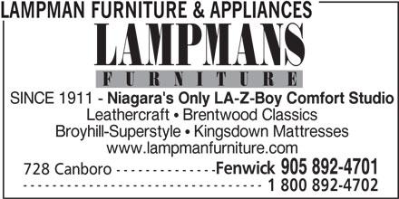 Lampman Furniture (905-892-4701) - Annonce illustrée======= -