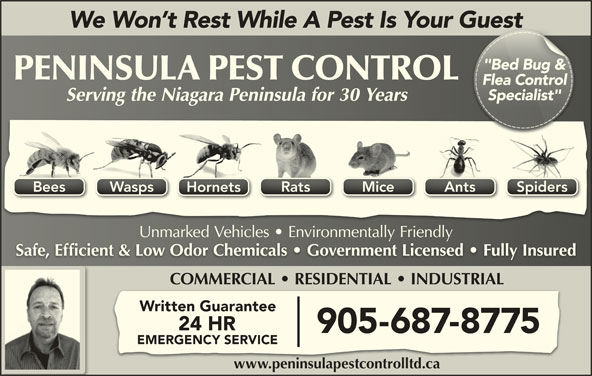"Peninsula Pest Control Ltd (905-687-8775) - Display Ad - We Won t Rest While A Pest Is Your GuestGuest ""Bed Bug &""Bed Bug & Flea ControlFl Controlea SpidersWaspsBees Mice AntsRatsSpidersWaspsBees HornetsHornets Unmarked Vehicles   Environmentally FriendlyUnmarked Vehicles   Environmentally Friendly Safe, Efficient & Low Odor Chemicals   Government Licensed   Fully InsuredSafe, Efficient & Low Odor Chemicals   Government Licensed   Fully Insured COMMERCIAL   RESIDENTIAL   INDUSTRIAL Written Guarantee 24 HR 905-687-8775 EMERGENCY SERVICE www.peninsulapestcontrolltd.cawww.peninsulapestcontrolltd.ca Specialist""Spialist""ec Serving the Niagara Peninsula for 30 YearsServing the Niagara Peninsula for 30 Years Mice AntsRats"